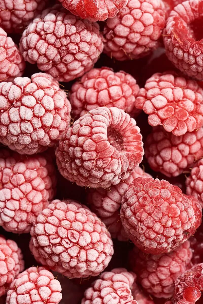 Frozen raspberries london food photographer macro photography